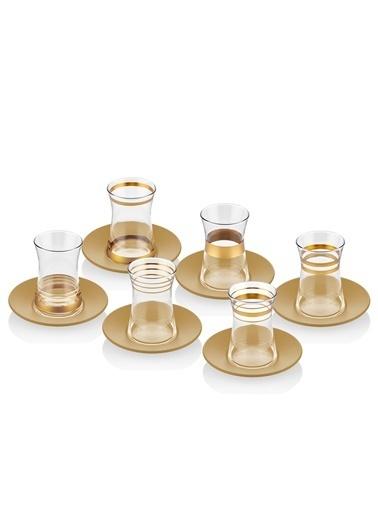 The Mia Lines Çay Bardağı 6'lı Set - Gold Altın